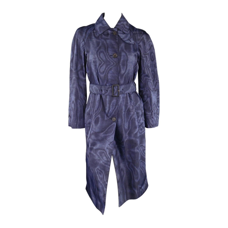 Prada Size 2 Blue Moare Print Nylon Trenchcoat At 1stdibs