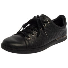 Gucci Black Guccissima Leather Lace Up Sneakers Size 38