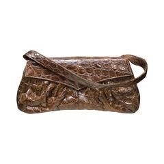 1940s Rouched Alligator Handbag