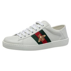 Gucci White Leather Ace Web Low Top Sneakers Size 40