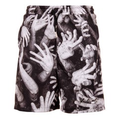 Multicoloured hands print shorts
