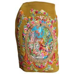 Gorgeous Todd Oldham Elaborately Embroidered Artwork Skirt