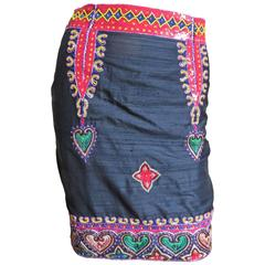 1980s Todd Odham Beaded Embroidered Silk Skirt