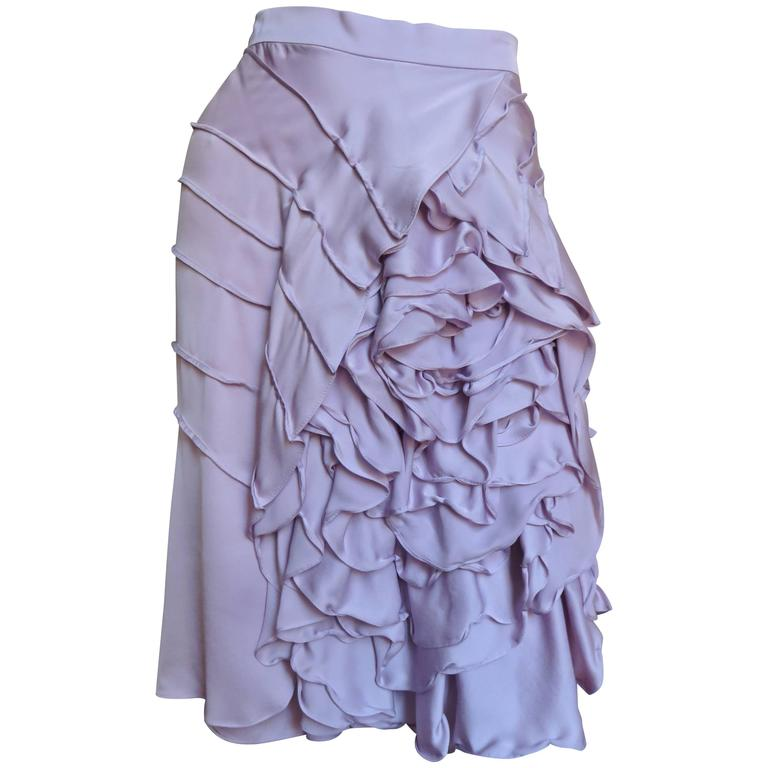 2003 Tom Ford For Yves Saint Laurent Ruffle Flower Skirt