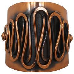 Rebajes Vintage Copper Rhythm Linear Cuff Bracelet - 1950's