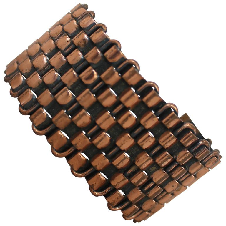 Renoir Vintage Copper Basket Weave Cuff Bracelet - 1950's For Sale