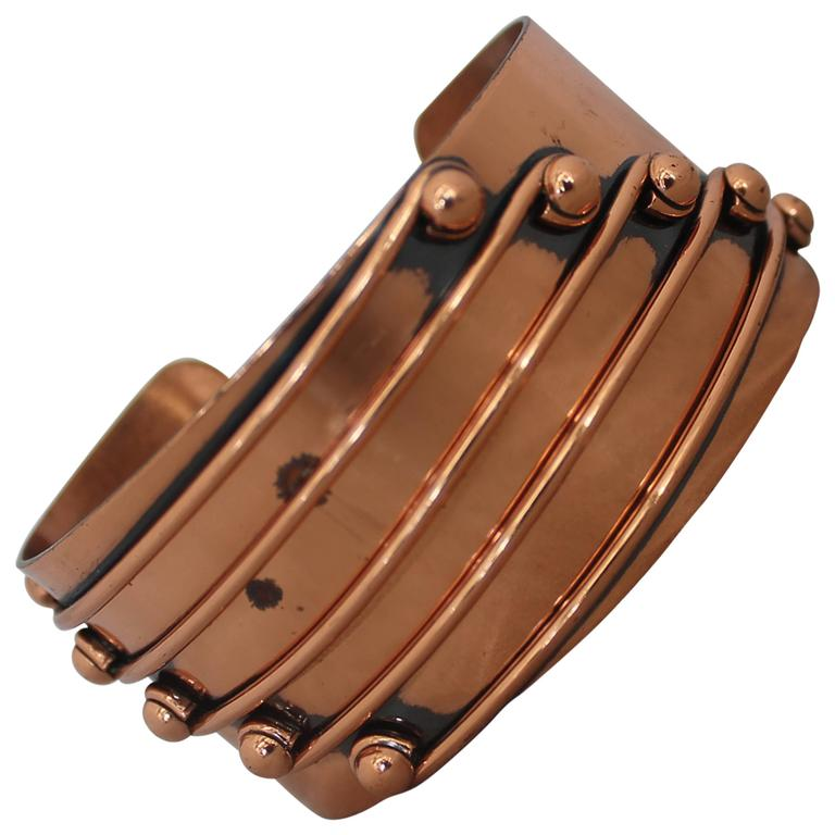 "Renoir Vintage Copper ""Streamline"" Cuff Bracelet - 1950's For Sale"