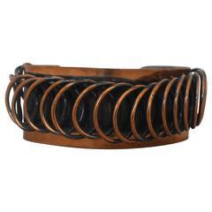 Renoir Vintage Handmade Copper Coil Cuff Bracelet - 1950's