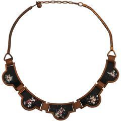 Rebajes Vintage Copper Necklace with Black Enamel - circa 1950's