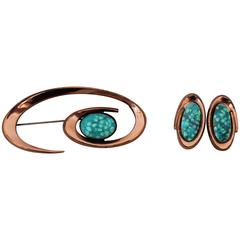 Matisse Renoir Vintage Aqua Enamel & Copper Clip Earrings & Pin Set - 1950's