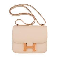 Hermes Constance HSS 18 Bag Craie / Gris Perle Rose Gold Hardware