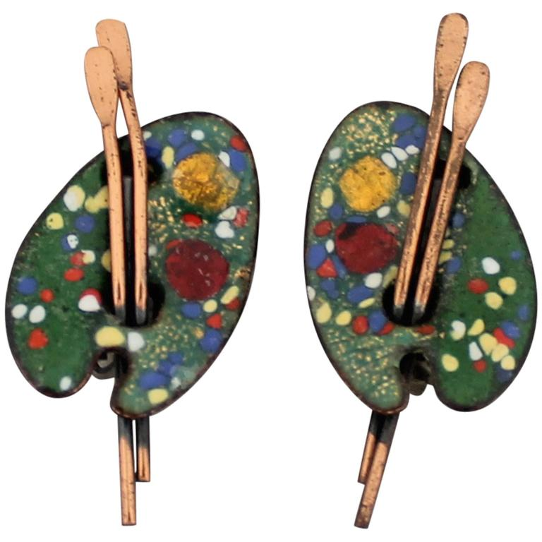 Matisse Vintage Painter's Palette Copper and Enamel Clip Earrings - 1950's For Sale