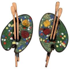 Matisse Vintage Painter's Palette Copper and Enamel Clip Earrings - 1950's