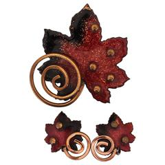 Matisse Vintage Red Enamel & Copper Maple Leaf Clip Earrings & Pin Set - 1950's
