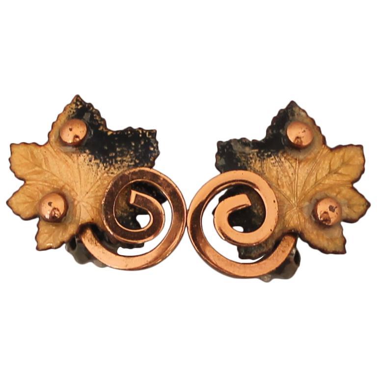 Matisse Renoir Vintage Copper Yellow Enamel Maple Leaf Clip Earrings 1950 S