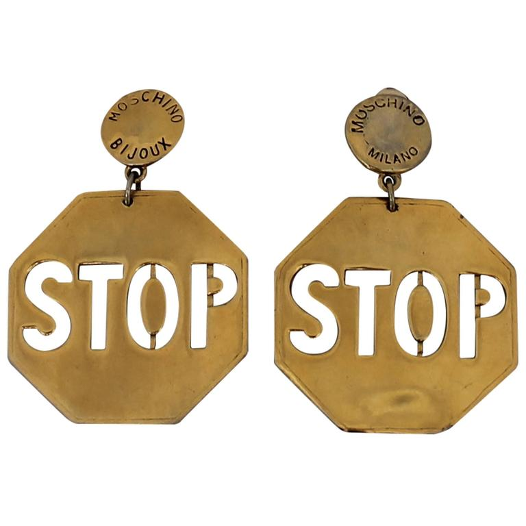 Moschino Vintage Goldtone Stop Sign Clip-on Earrings - circa 1980's  1