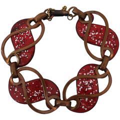 Rebajes Vintage Copper Cut-out Bracelet with Red Enamel - circa 1950's