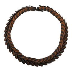 "Rebajes Vintage Copper ""Petal"" Snakelike Necklace - Circa 1950's"