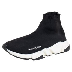 Balenciaga Black Knit Fabric Speed High Top Sneakers Size 39