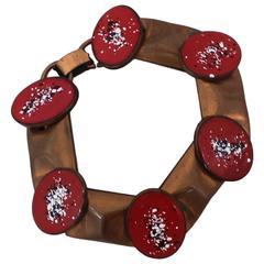 Rebajes Vintage Copper and Red Enamel Oval Bracelet - Circa 1950's