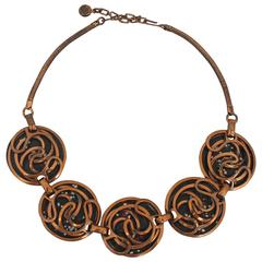 Rebajes Vintage Copper and Black Enamel Necklace w/ Swirl Design - circa 1950's
