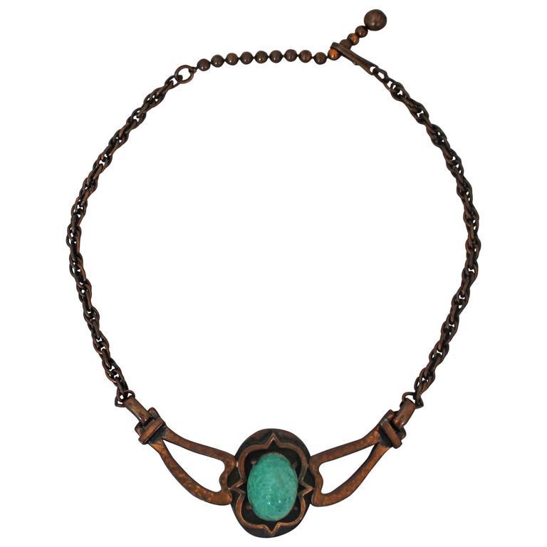 Rebajes Vintage Copper Necklace w/ Blue Stone - circa 1960's For Sale