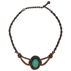 Rebajes Vintage Copper Necklace w/ Blue Stone - circa 1960's