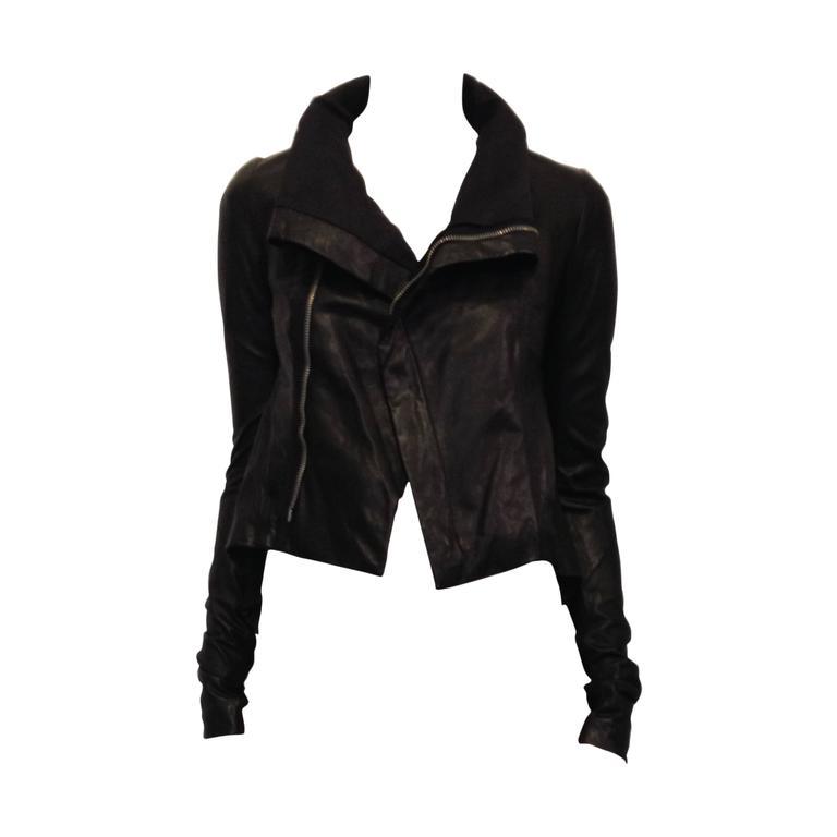 Rick Owens Black Leather Jacket 1