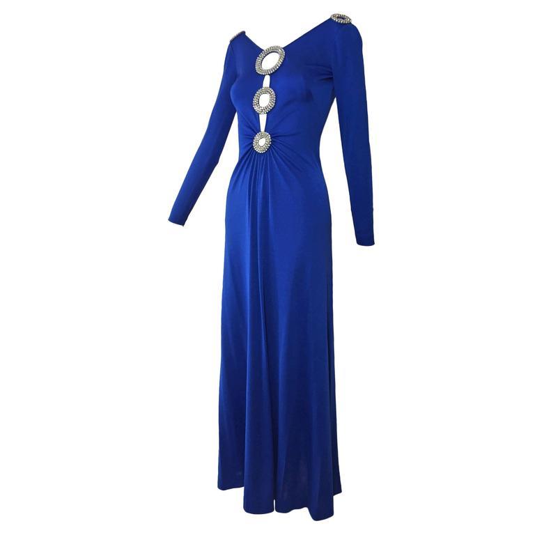 1970s Loris Azzaro Cobalt Silk Jersey Gown with Spectacular Rhinestone Cutouts