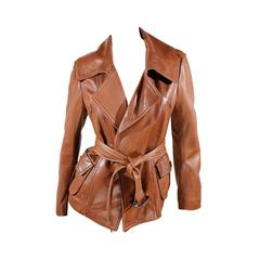 Donna Karan Leather Jacket in vintage-brown