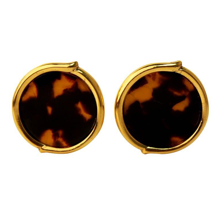 Vintage Yves Saint Laurent Tortoise-Shell Clip-On Earrings 1