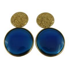 Yves Saint Laurent Vintage Massive Gold and Blue Disc Dangling Earrings