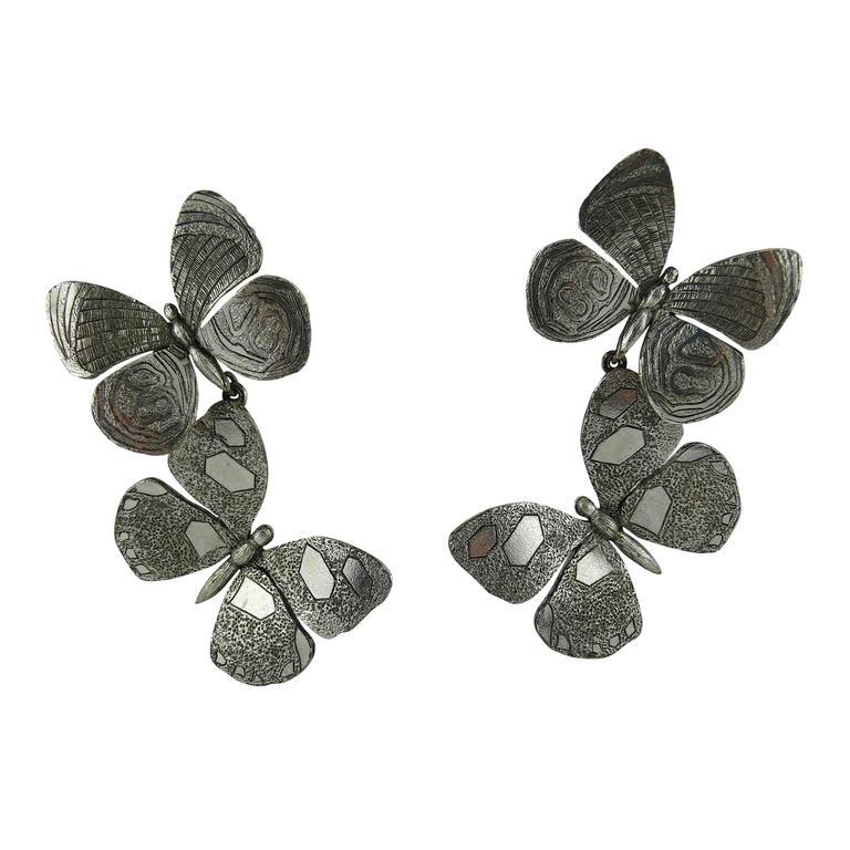 Jean Paul Gaultier Vintage Silver Tone Butterfly Dangling Earrings For Sale