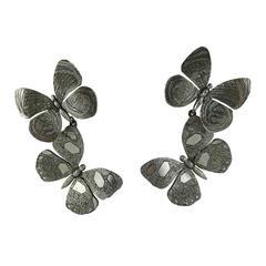 Jean Paul Gaultier Vintage Silver Tone Butterfly Dangling Earrings