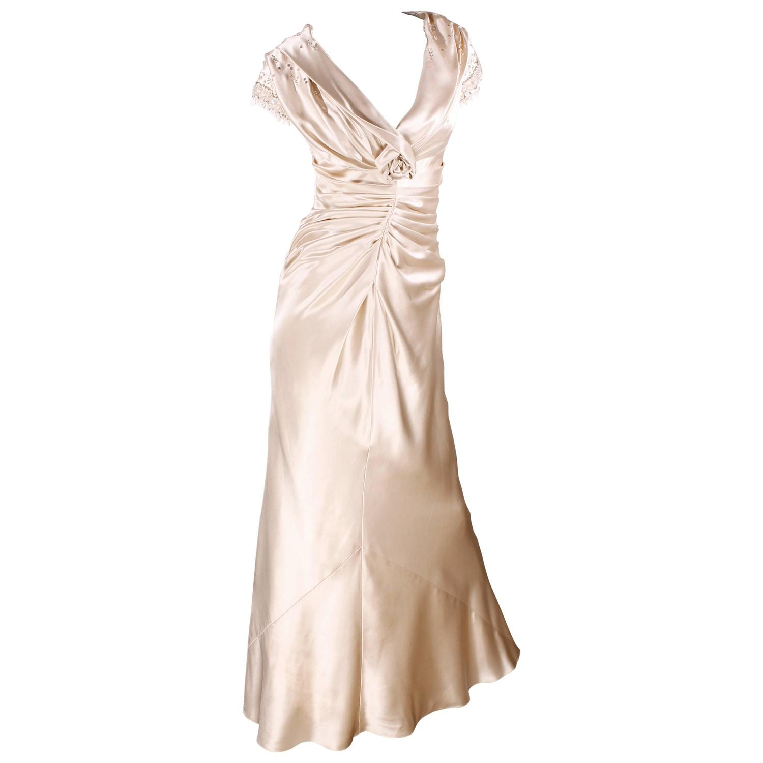 Christian dior champagne colored evening gown at 1stdibs for Dior couture dress price