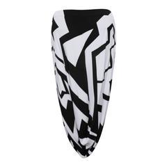 NEW Fall 2013 Runway Tom Ford Chalk and Black Geometric Print Harem Skirt
