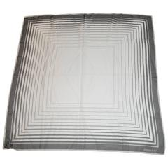 Emanuel Ungaro Black & White Silk Chiffon Abstract Scarf