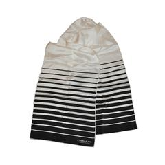 Emanuel Ungaro Black & White Stripe Silk Rectangle Scarf