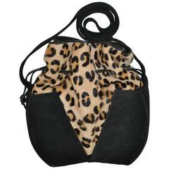 Gino Black Suede & Leopard Print Stamped Pony-Skin Hobo Shoulder Bag