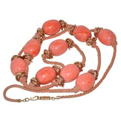 Yves Saint Laurent Coral Lucite with Gold Hardware Silk Cord Necklace