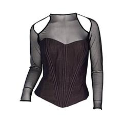 Sensational Vintage Vicky Tiel Couture Black Cut - Out Sexy Bustier Corset Top