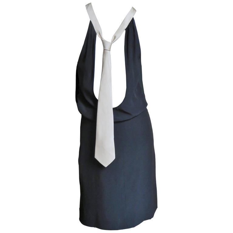 1990s Moschino Silk Scoop Back Necktie Dress