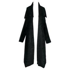 Fall 1989 AZZEDINE ALAÏA Runway Black Velvet Knit Shawl Collar Open Front Jacket