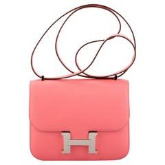 New in Box Hermes Rose Ete' Mini Constance 18 Bag