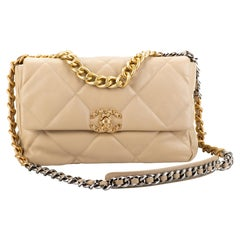 New Chanel Rare Quilted Beige 19 Bag