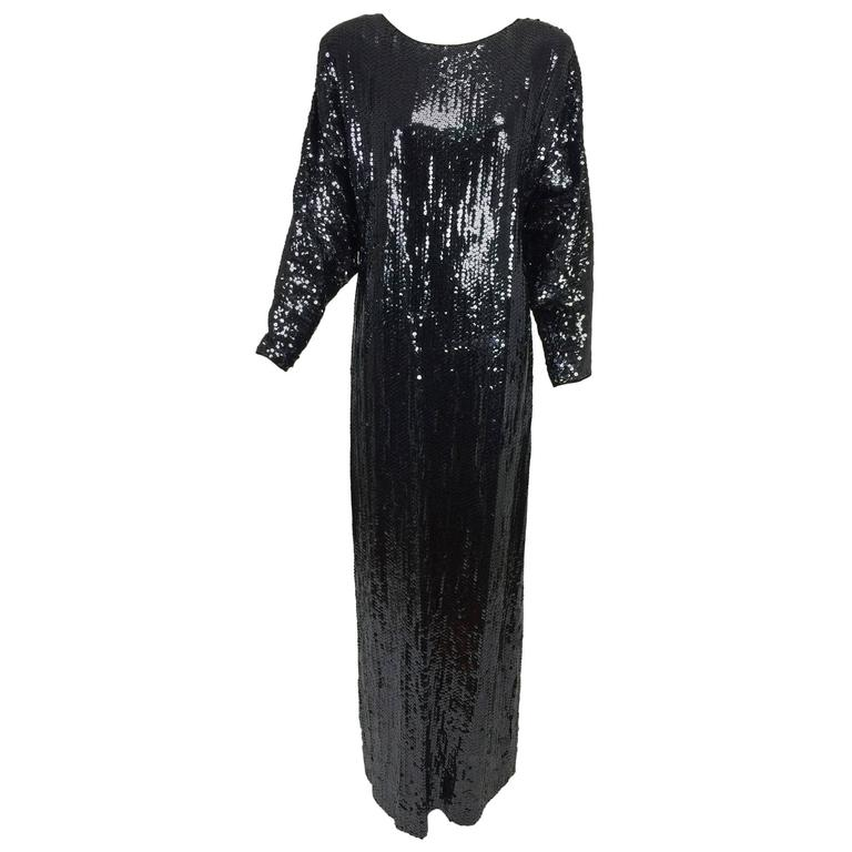 Halston glittery black sequin bat wing evening gown