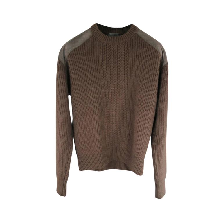 Prada Brown Wool Suede Shoulder Sweater, Size S