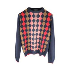 PRADA Size XS Navy Red & Beige Wool Ombre Argyle Pattern Pullover