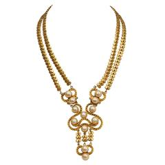 Chanel Gold Nouveau Pearl Necklace