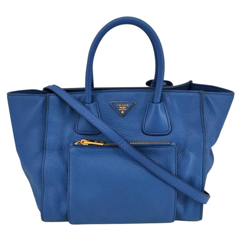 PRADA Shoulder bag in Blue Leather For Sale